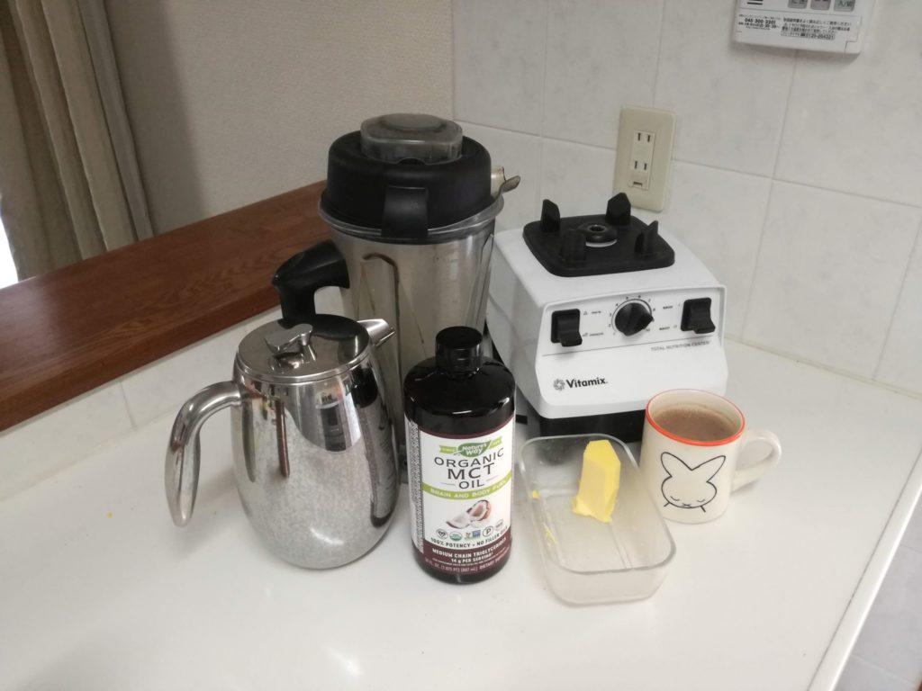 バターコーヒー作りのアイテム