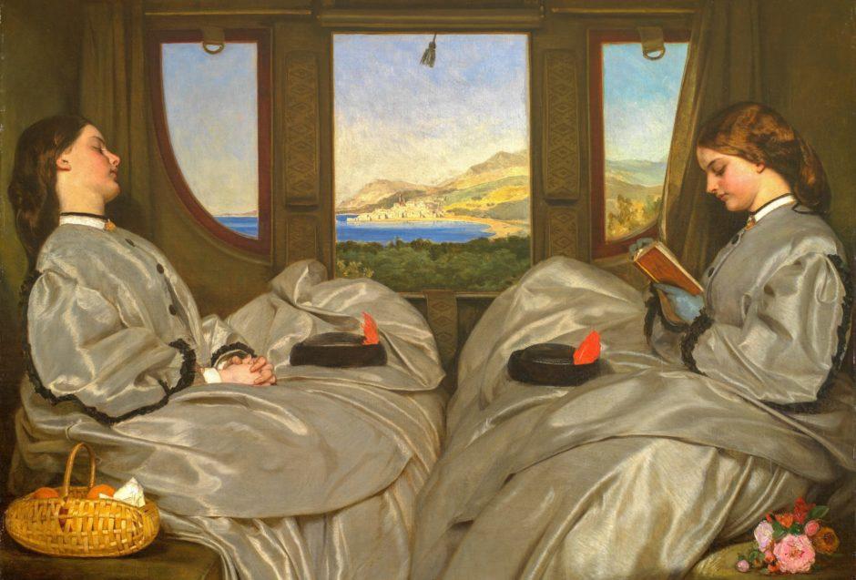 列車で本を読む女性の絵