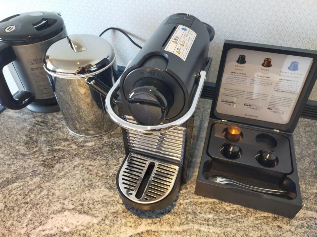 ヒルトン名古屋のお部屋についているコーヒーマシン