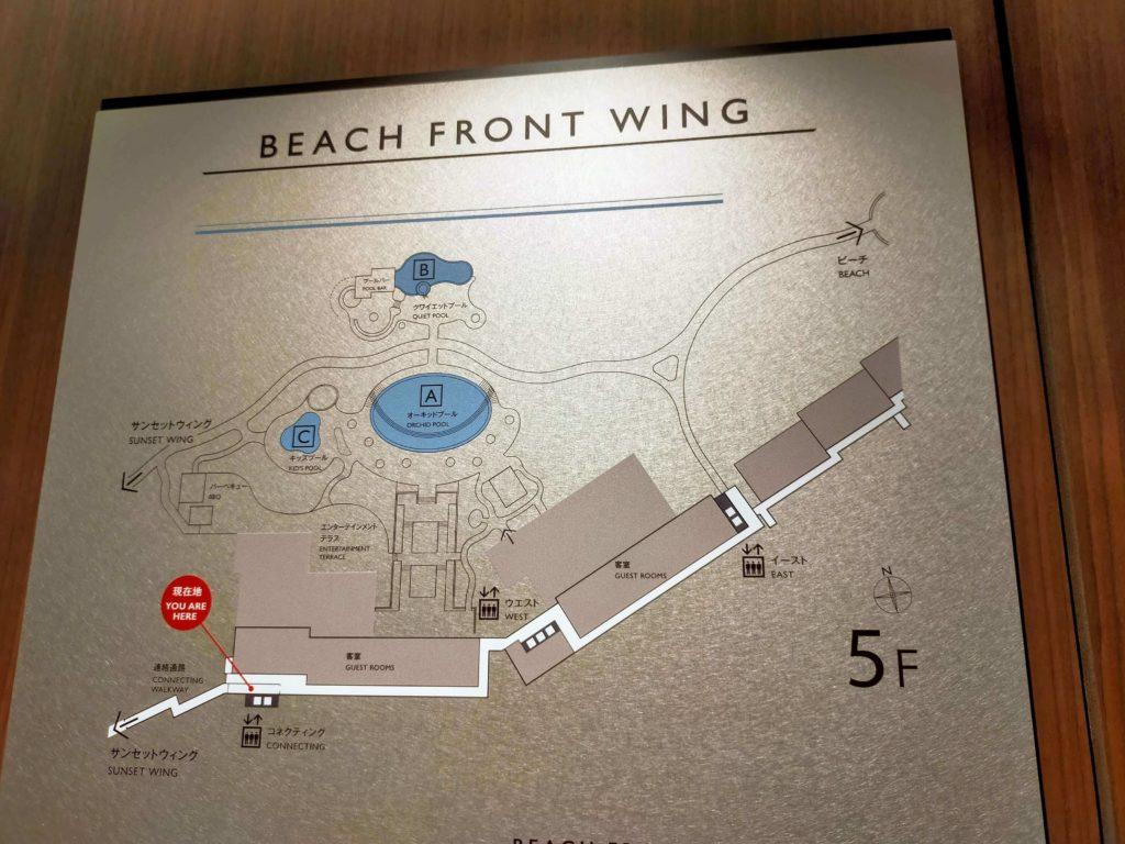 ハレクラニ沖縄の建物配置図(ビーチフロントウィング)