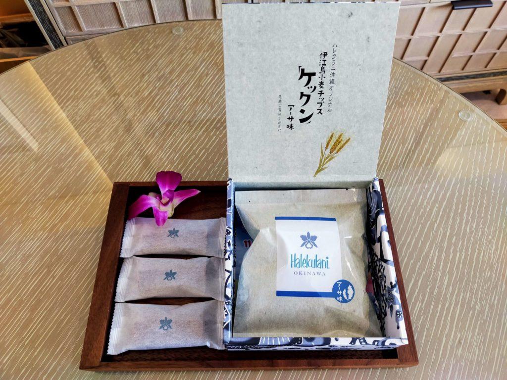 ハレクラニ沖縄のゲストルームでのおもてなしのお菓子