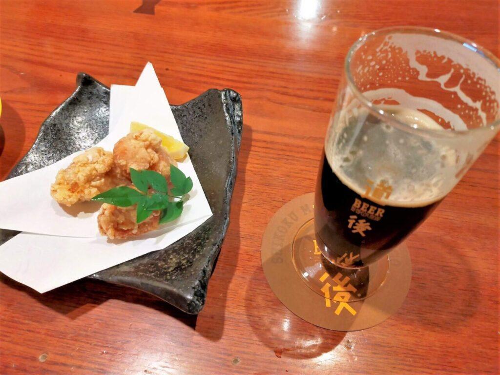 道後麦酒館の道後地ビールと道後・松山名物「せんざんき」