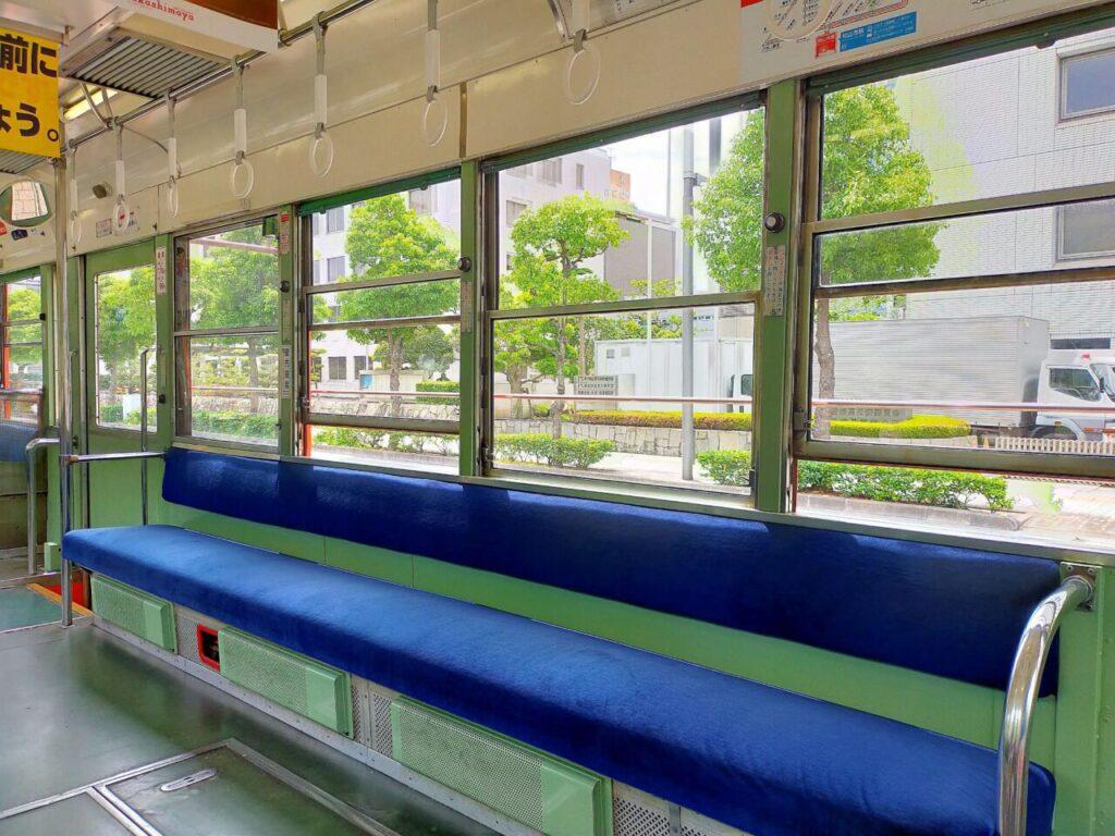 道後松山の乗り物「伊予鉄」のシート
